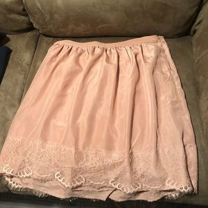 Forever 21 peach skater skirt with lace trim